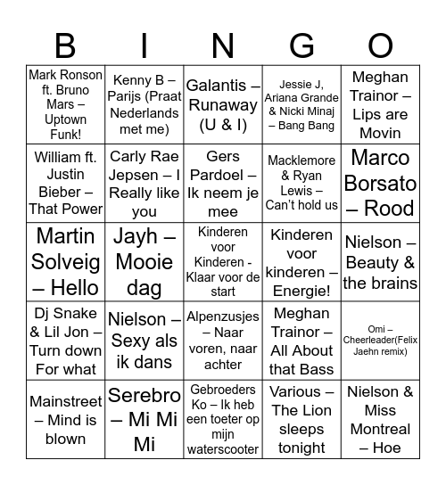 CJV Zomerkamp 2015 Bingo Card