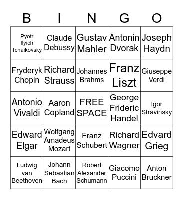 Classical Music Composers Bingo Card