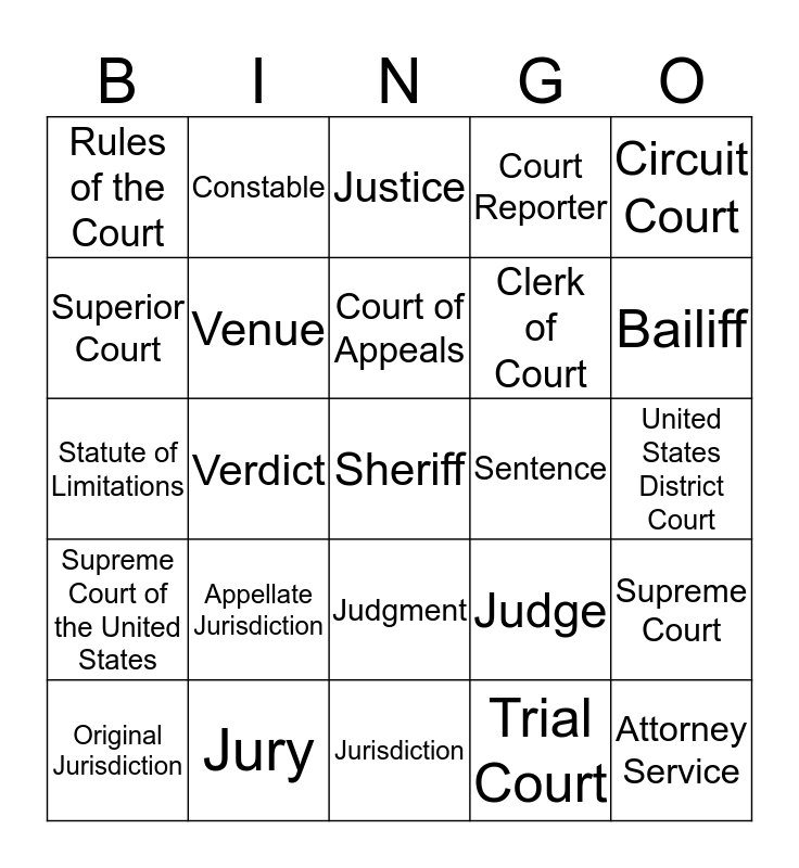 LSA Chapter 5 Bingo Card