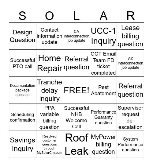 SOLAR Bingo Card