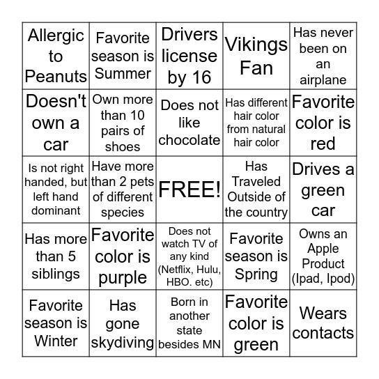 Handy Help Blackout Bingo Card