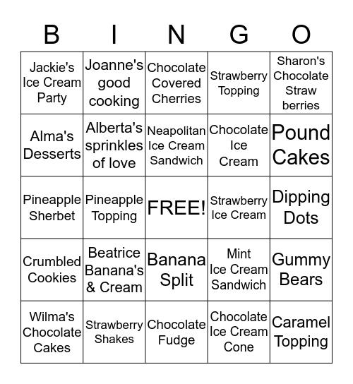 Jackie's Ice Cream Bingo Game Bingo Card