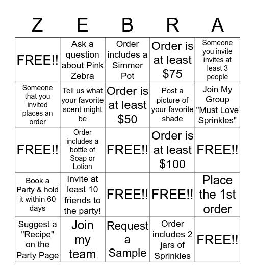 Pink Zebra Bingo Card