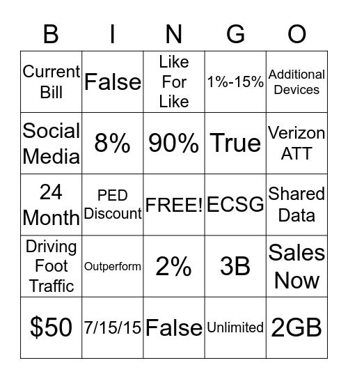 New Promo Bingo Card