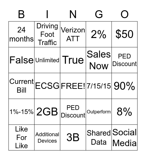 New Promo Bingo Card