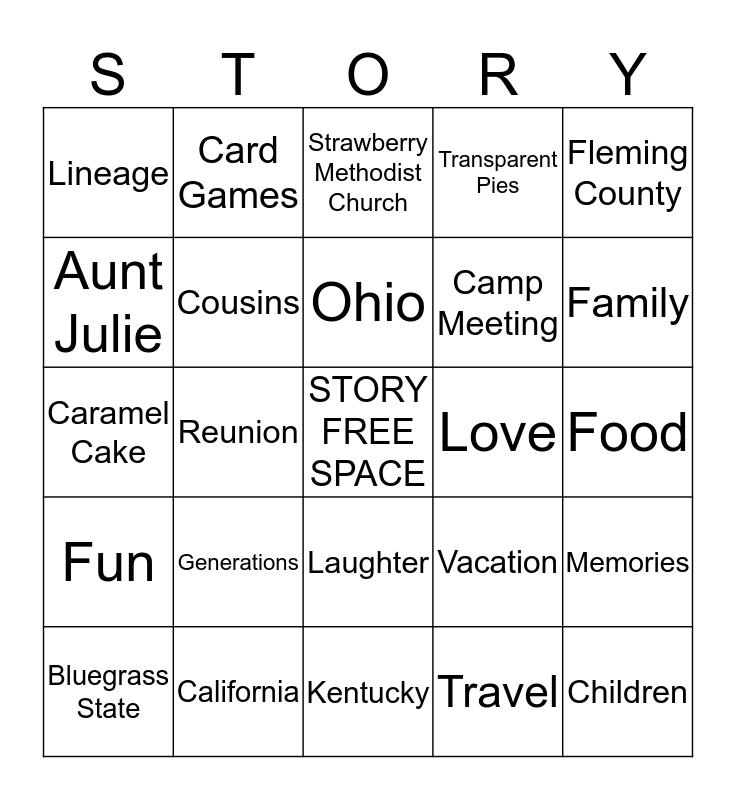 Story Family Reunion Bingo Card