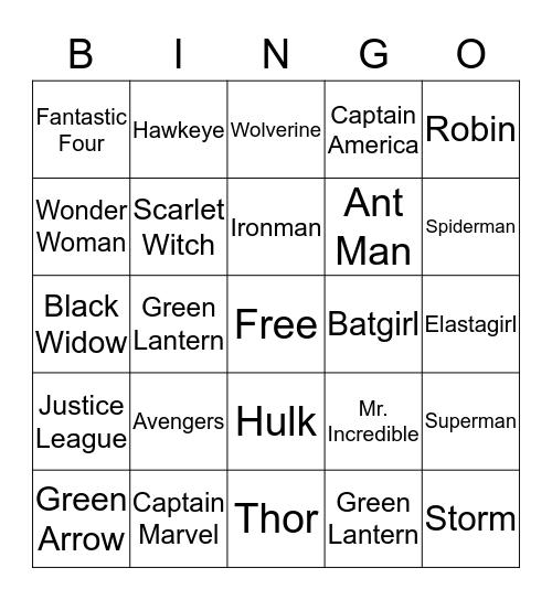 Super Hero Bingo Card