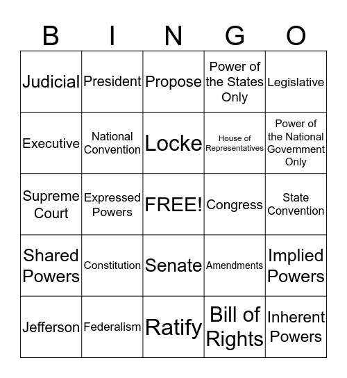 Mr. Burke's Government Class Bingo Card