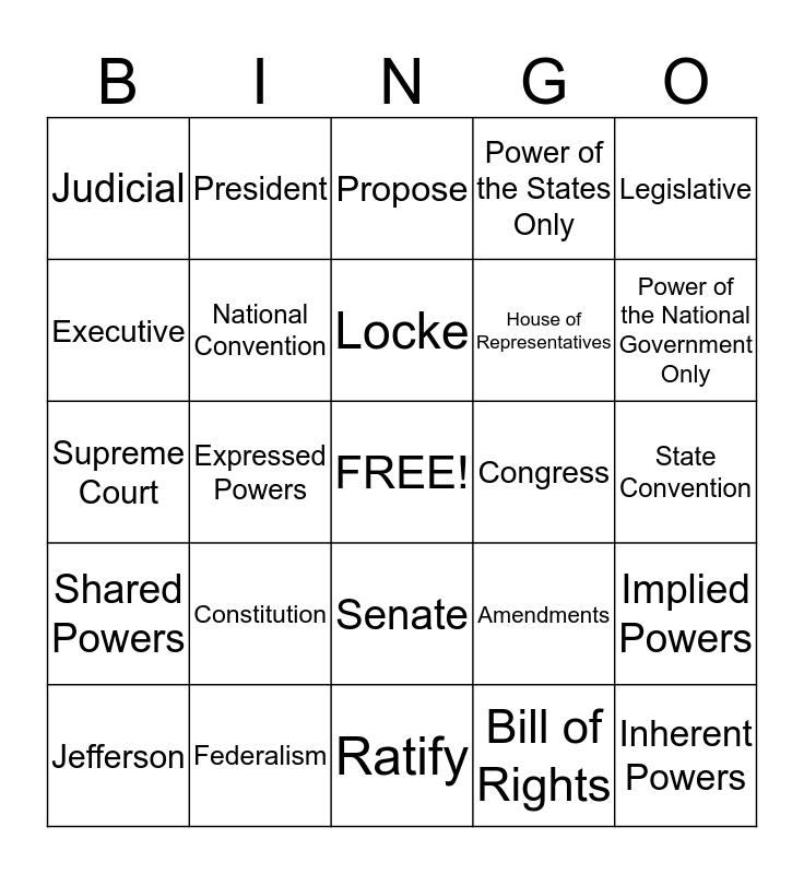 Mr. Burke's Government Class Bingo Card