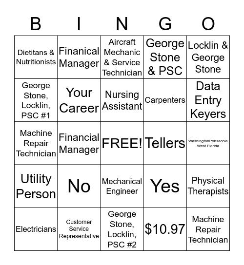 Career Pathways Bingo Card
