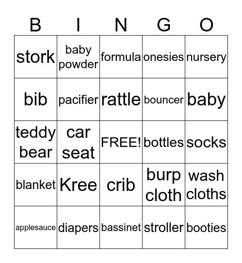 Shumia's Baby Shower 2015 Bingo Card
