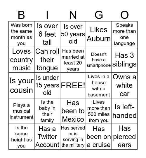 THOMAS FAMILY Bingo Card