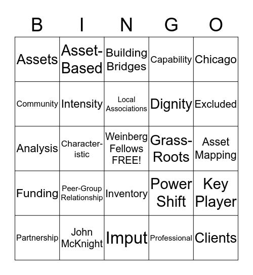 Capacity Building Bingo Card