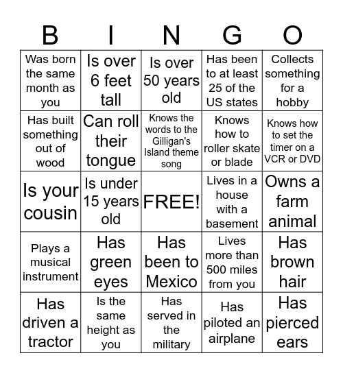 COOK FAMILY REUNION 9-6-15 Bingo Card