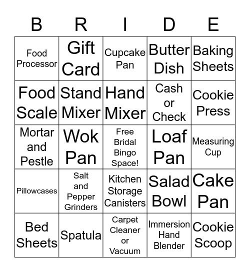 Katie's Bridal Shower Bingo! Bingo Card