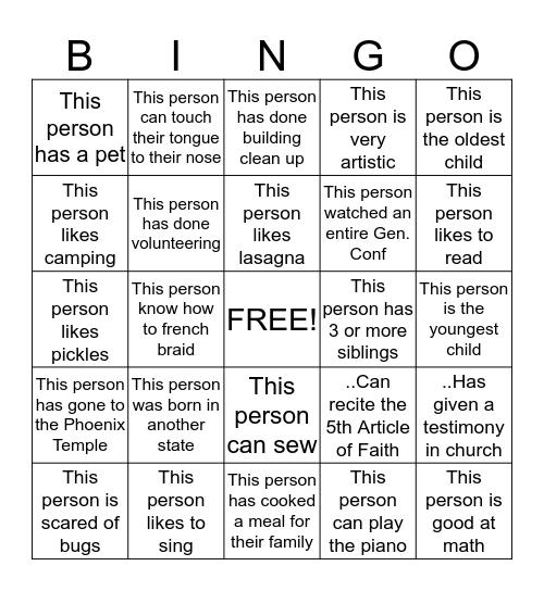 Get to know each other Bingo! Bingo Card