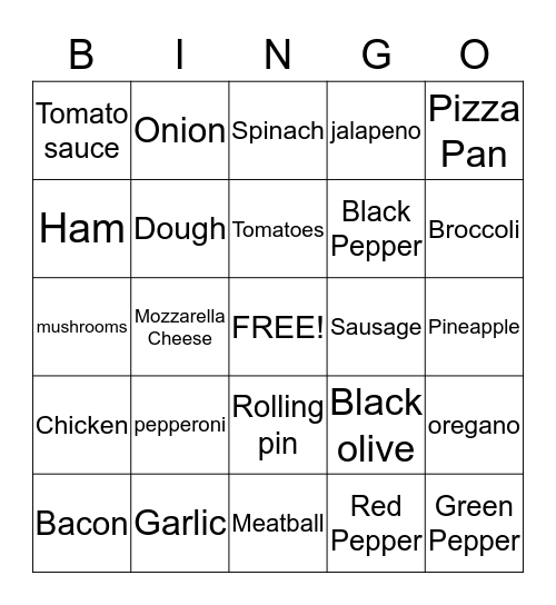 Pizza  Bingo Card