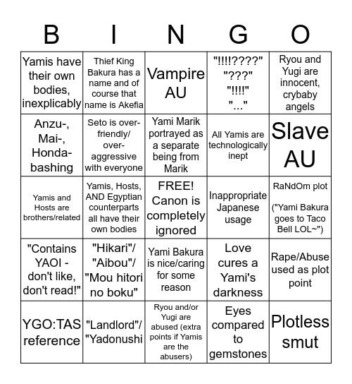 Yu-Gi-Oh! Fanfic Bingo Card