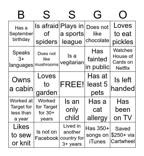 BSS Picnic BSS-GO Bingo Card