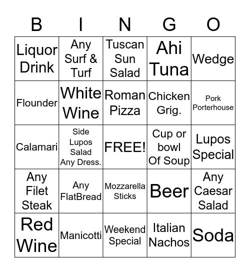 Lupo's Bingo #2 Bingo Card