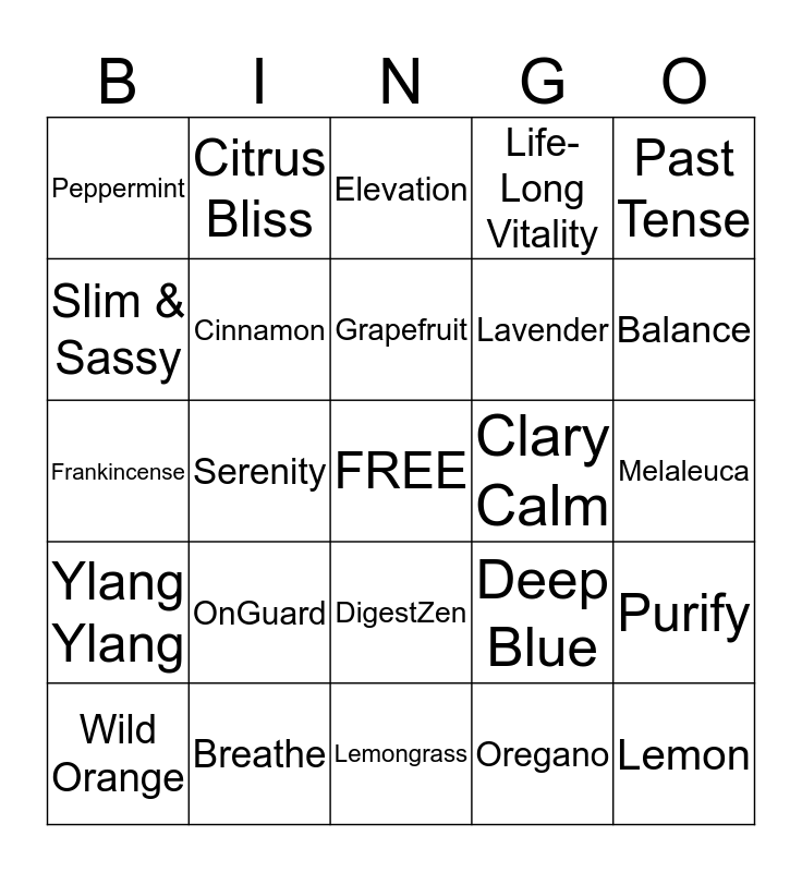 ESSENTIAL OILS Bingo Card