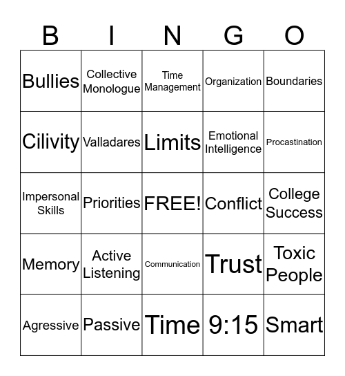 Civility Bingo Card