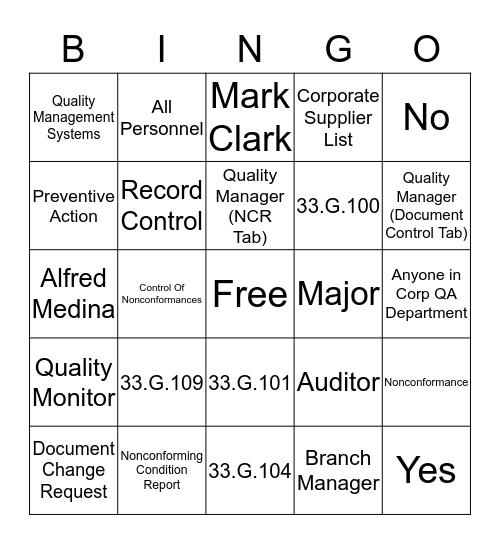 Mechanical Services Bingo Card