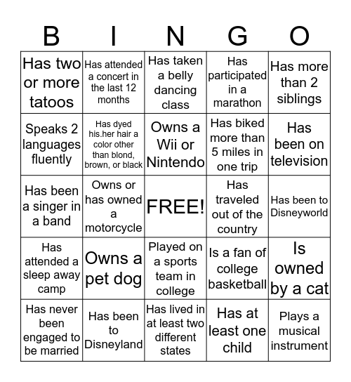 Y Bingo #1 (Can only use each name once) Bingo Card