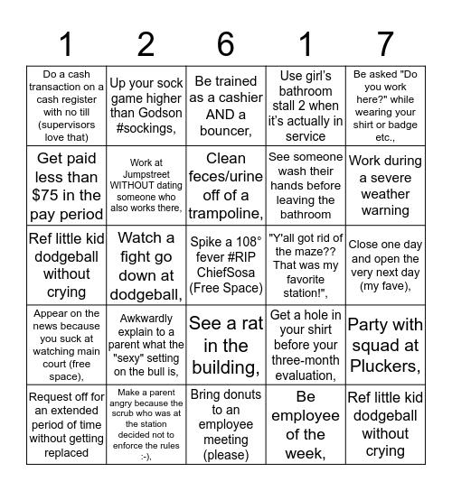 #JumpstreetProbs Bingo Card