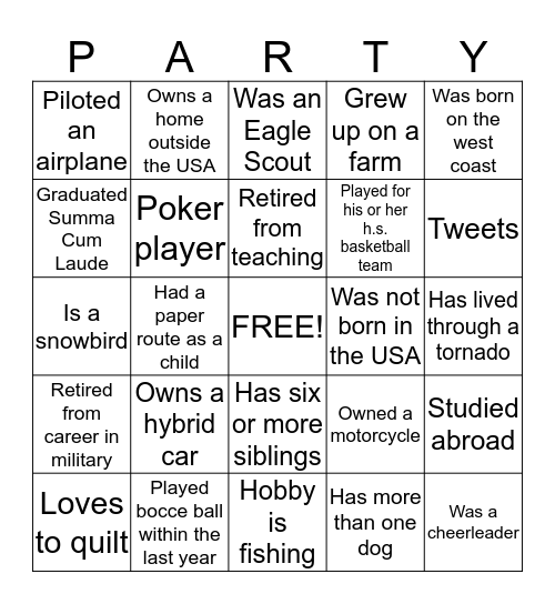 Gatherings Pool Opening Bingo Card