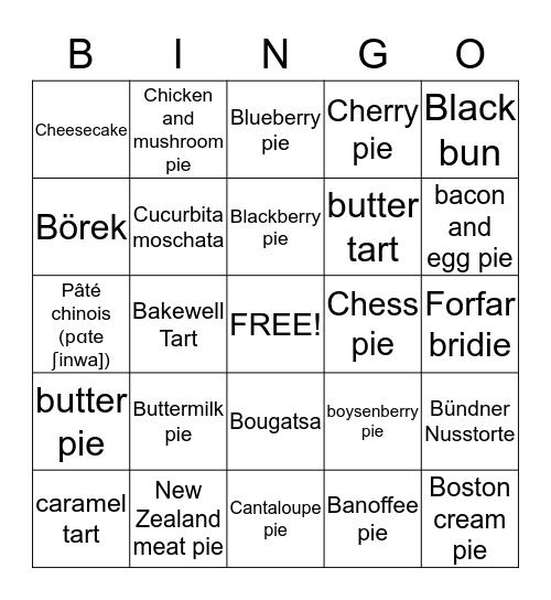 Terri's pie Bingo Card