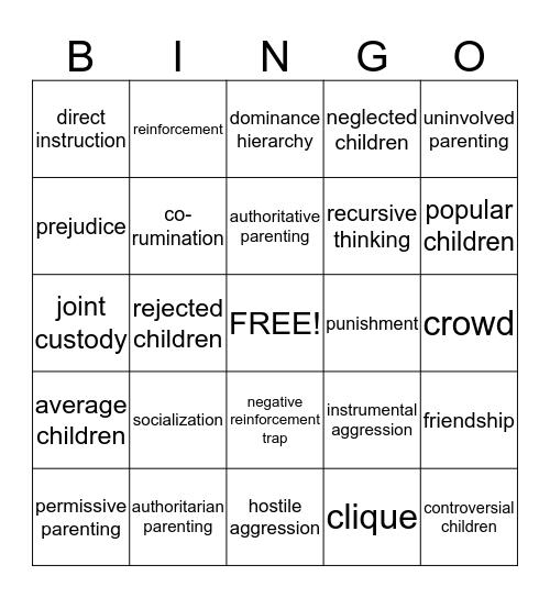 Psychology Life Span & Development CH.7 Bingo Card