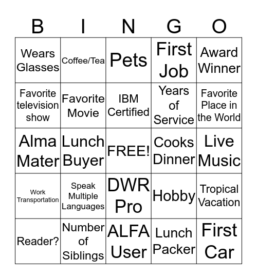 BICC Bingo Card