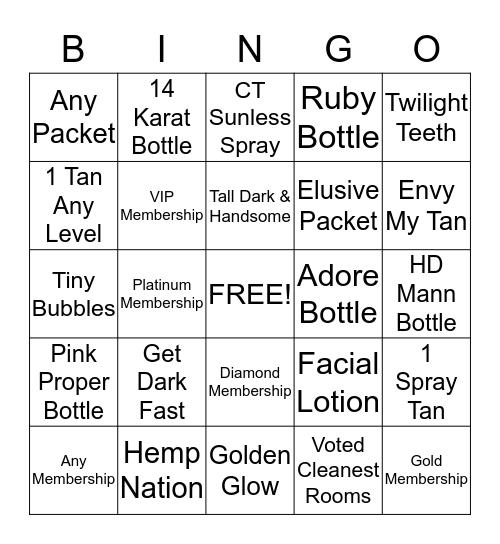 Celebrity Tanning BINGO (August) Bingo Card