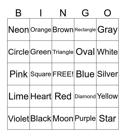 Shapes & Colors Bingo Card