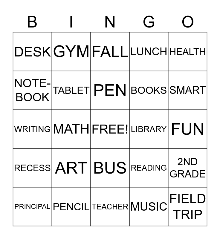 Back to School Bingo! Bingo Card