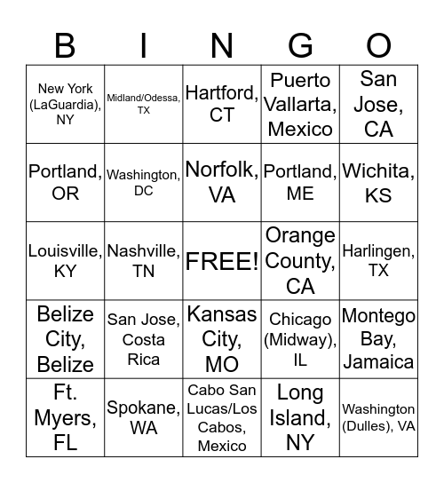 Airport Code BINGO Card