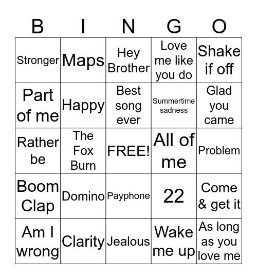 Kidz Bop #1 Bingo Card