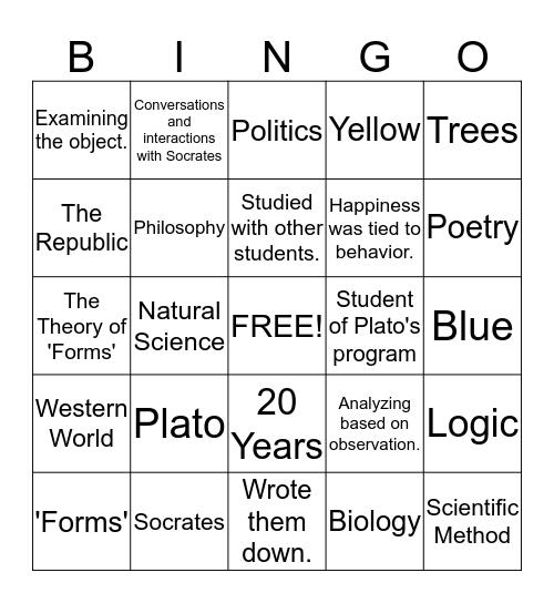 Philosophy of Aristotle and Plato Bingo Card
