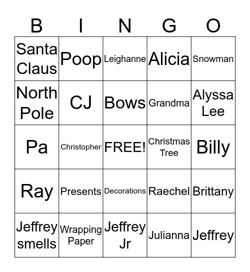 XMAS WITH THE PIKES Bingo Card