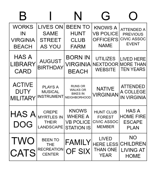GET TO KNOW YOUR NEIGHBORS   Find people that match the descriptions below and have them sign the applicable square (residents are allowed to sign only one square per sheet) Bingo Card