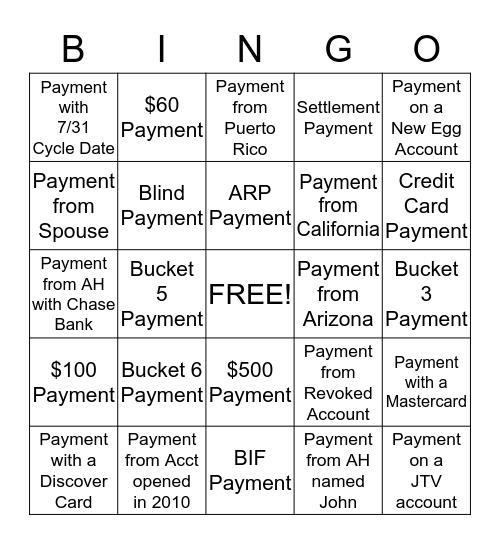 PayPal Bingo  Bingo Card