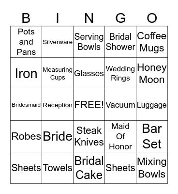 Kenyas' Bridal Shower Bingo  Bingo Card