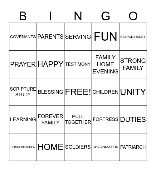 FOREVER FORTRESS FAMILY Bingo Card