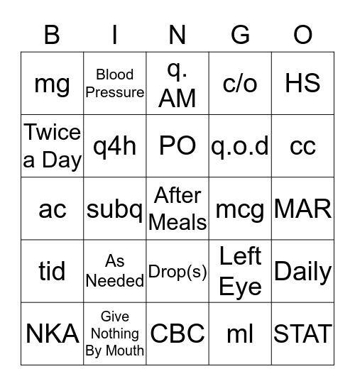 Medical Bingo Card