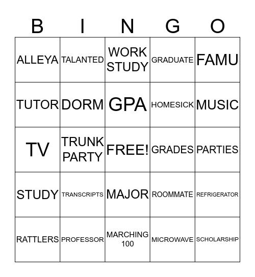 ALLEYA'S TRUNK PARTY Bingo Card