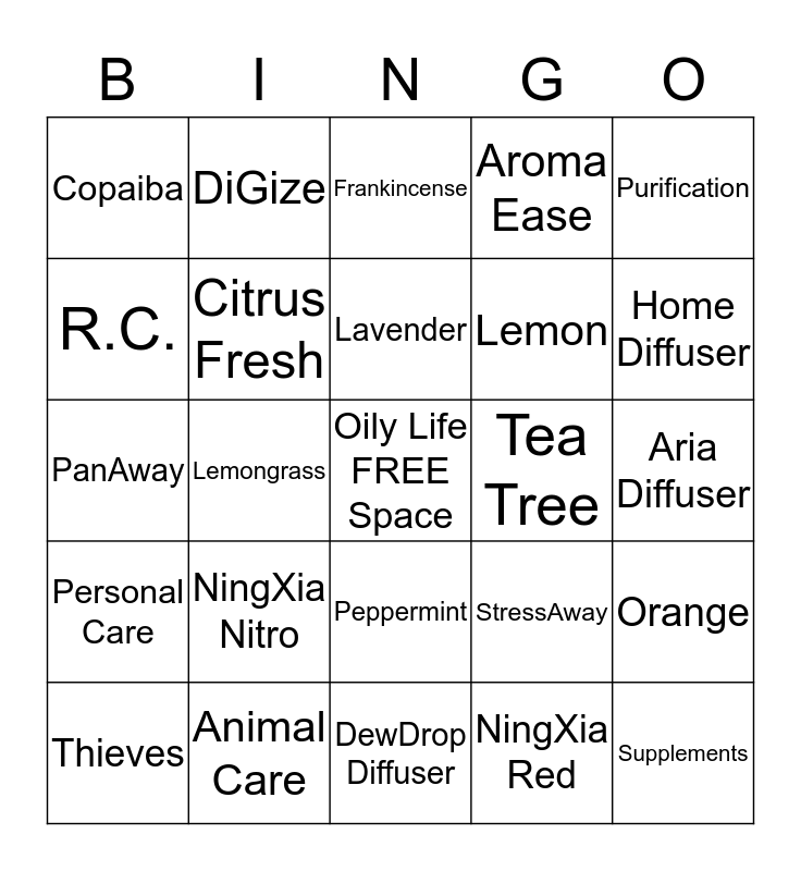 Young Living Premium Starter Kit Bingo Card