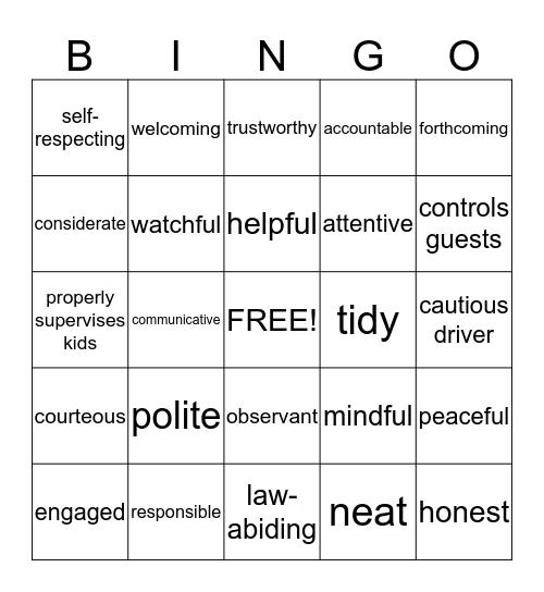 A GOOD NEIGHBOR Bingo Card