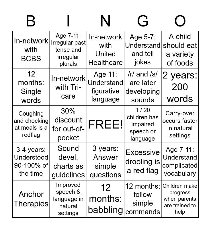 Anchor Therapies  Bingo Card