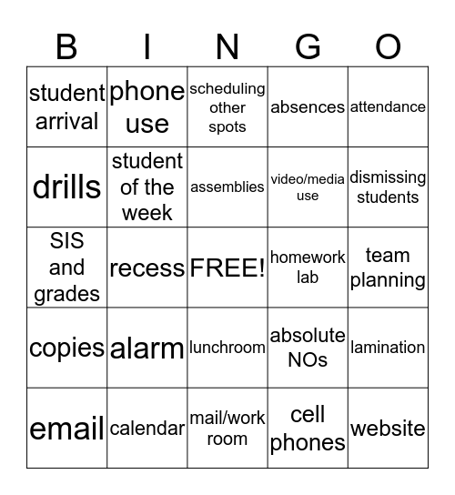 Mapleton Procedures Bingo Card